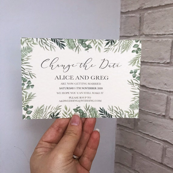 Greenery save the date cards