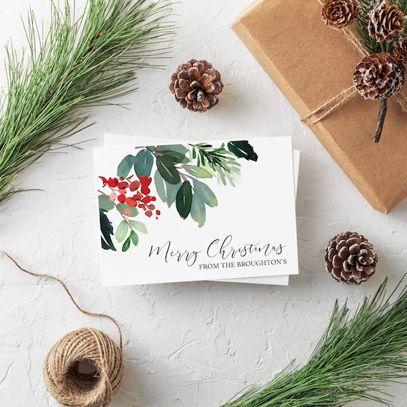 Holly leaf christmas card, personalised xmas card