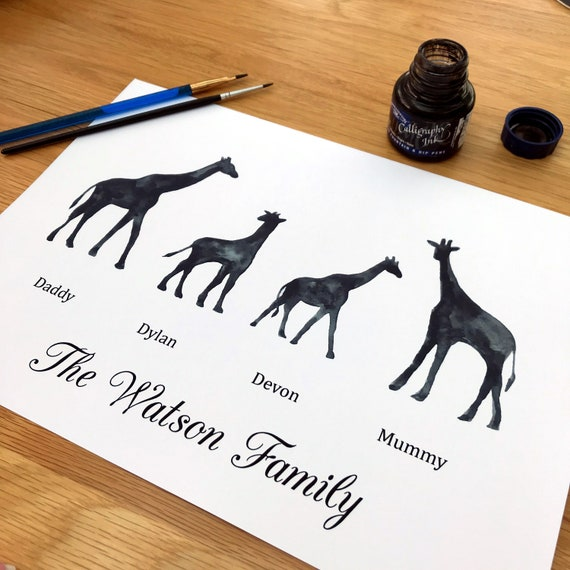Giraffe family print, personalised gift