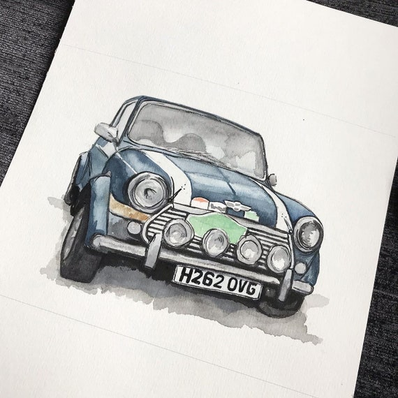 Custom car painting, watercolour and ink