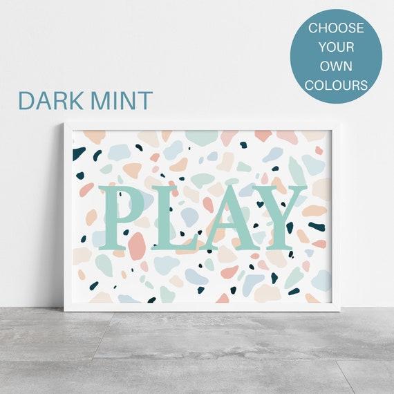 Play nursery print, terrazzo, nursery name print