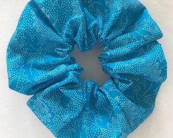 Blue Flower Scrunchie