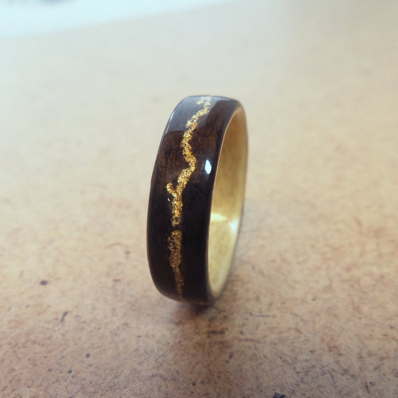 gift wooden ring with gold wood engagement ring Ring wood wood inlaid with gold Eucalyptus wood Natural jewelry wedding anniversary