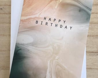 Emerald & Beige Marble Birthday Card