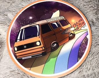 "VW Vanagon Westfalia ""Riding the Rainbow"" Sticker"