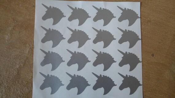 25 Unicorn Silhouette Stickers Orange Set Laptop Glass Car Vinyl Wall