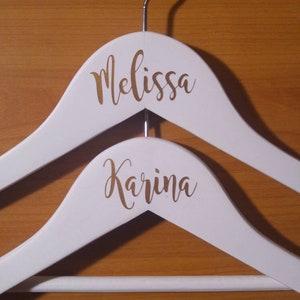 Bridal Party Decals Custom Name Decals for Wood Hanger Entourage Decals Wedding Hanger Decals