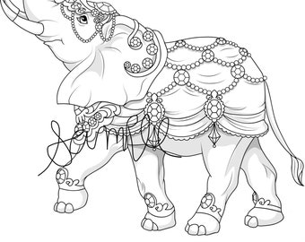 Coloriage Elephant Pour Adulte.Articles Similaires A Colorier Pour Adulte Elephant Zentangle