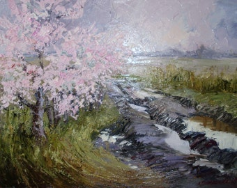 "Spring countryside road oil painting ""An outskirts"" Rural landscape village painting on canvas"