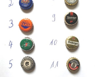 Magnets Refrigerator magnets made of crown caps 3 pieces per set - Upcycling, recycling - Handmade