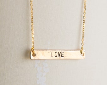 LOVE necklace, hand stamped Love necklace, golden bar necklace, gold Laugh, Dream, pendant, inspirational quote jewelry, gift for her