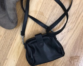 Mini black leather crossbody