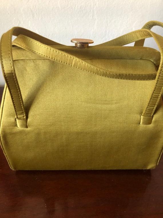 Vintage chartreuse Linen Purse 1950's - image 2