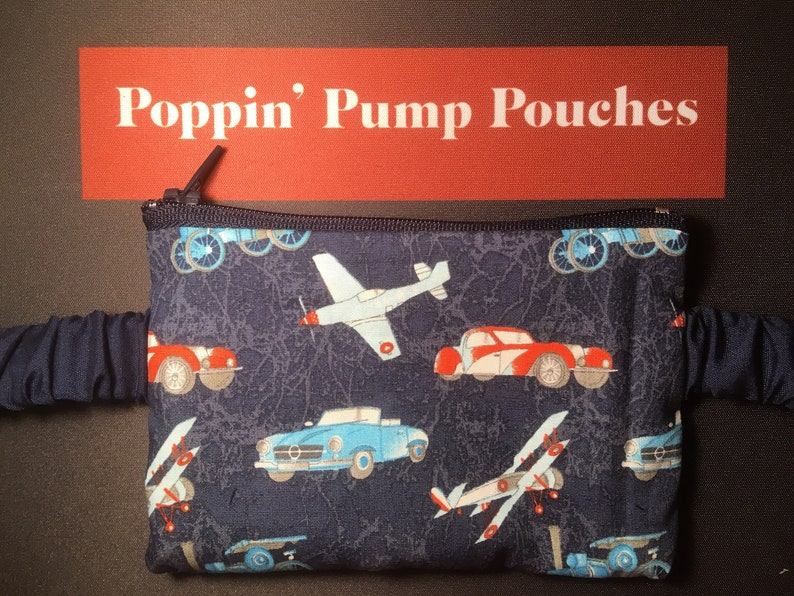 Blue planes and automobiles insulin pump pouch