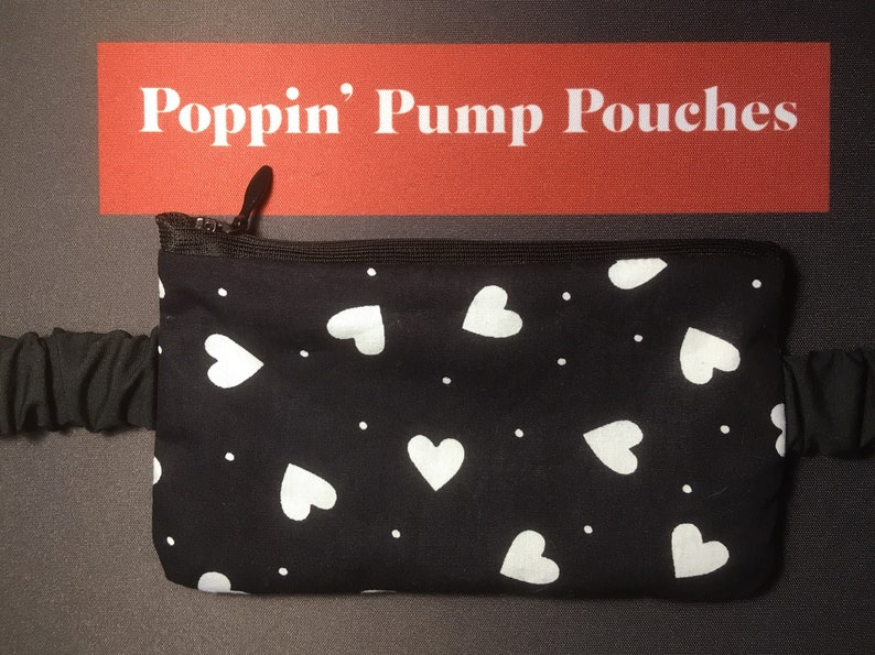 Black with white hearts pump pouch