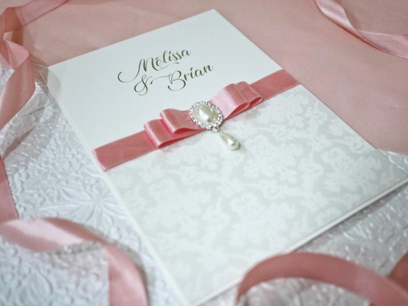 Damask Velvet White Wedding Invitation Handmade Pocket Wallet   Etsy