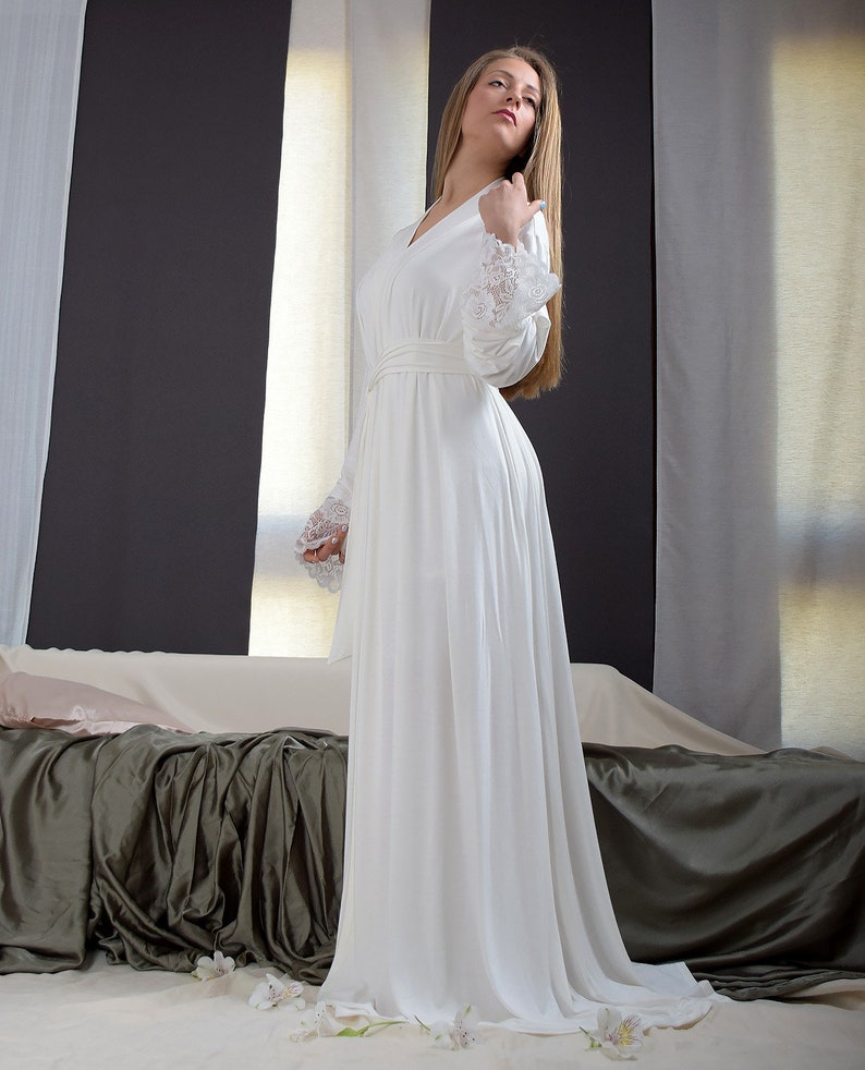 bf9be4bc1c Maxi Lace Jersey Robe Sexy Sleepwear Long Bathrobe Women