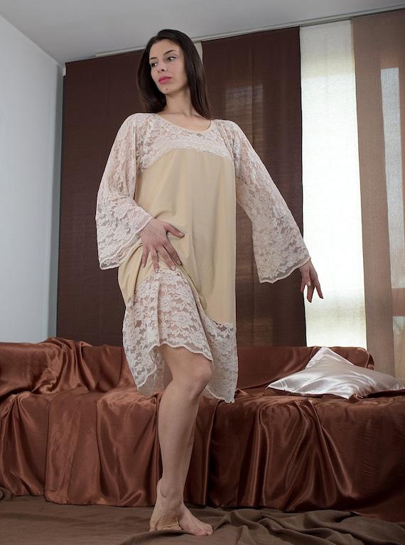 Plus size night dress, beige nightgown, sleeping dress, made to order nightgown,nightie,lace night dress,comfy nightgown,woman nightgown 013