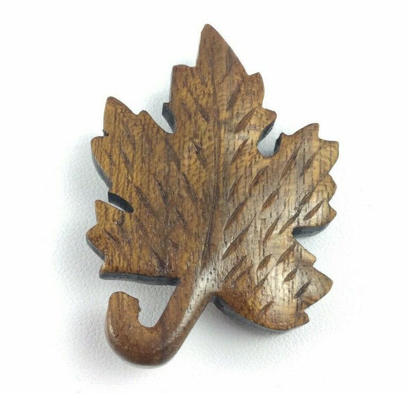 Vintage Carved Wood Maple Leaf Pin Brooch Signed Joe Klaus Figural Natural Nature