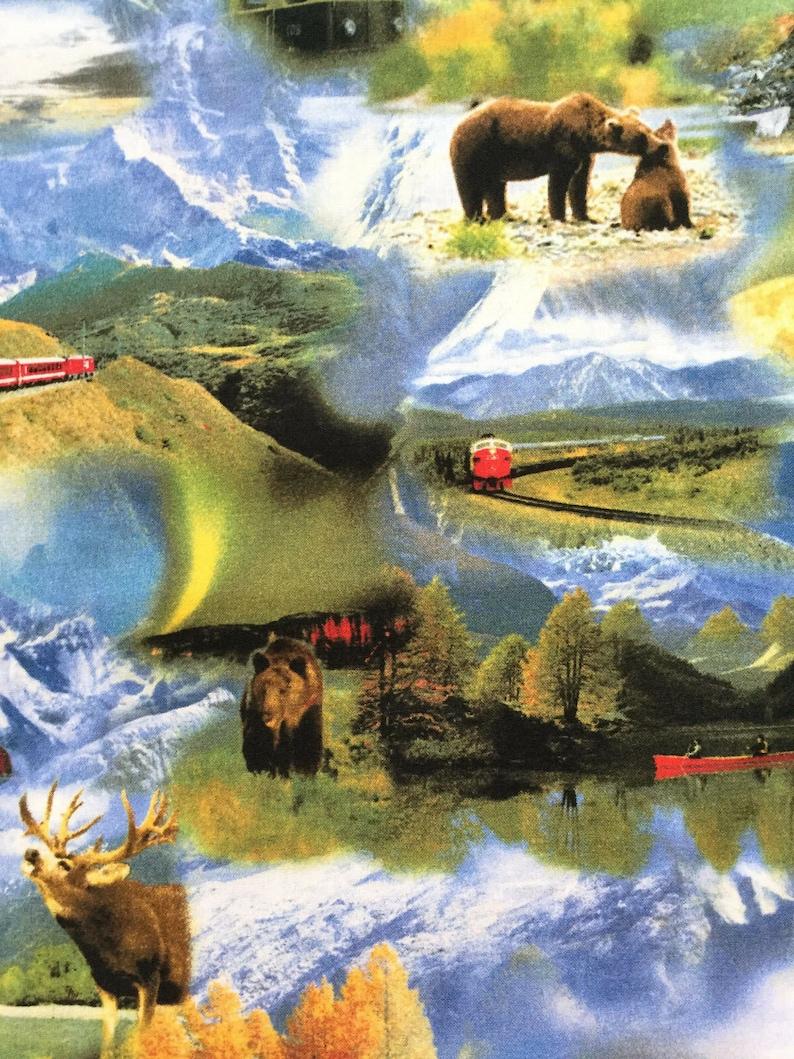 Mountain Adventure Train Fabric Bear Snow Moose Travel Backroads Experience RJR Nature Wildlife Alaska