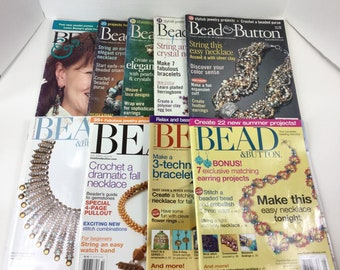 Lot of 9 Bead and Button Magazines,Back Issues,Beading,Jewelry,Bead Art,Resource,How To,Project Ideas