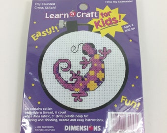 Dimensions Counted Cross Stitch Kit,Learn A Craft For Kids,Salamander,Pink,Easy,Kids Crafts,Beginner,Vintage