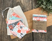 100 Cotton Reusable Soft Face Cleansing Wash Pads Makeup Remover Pads Storage Wash Bag - Eco Friendly Washable Zero Waste - Floral