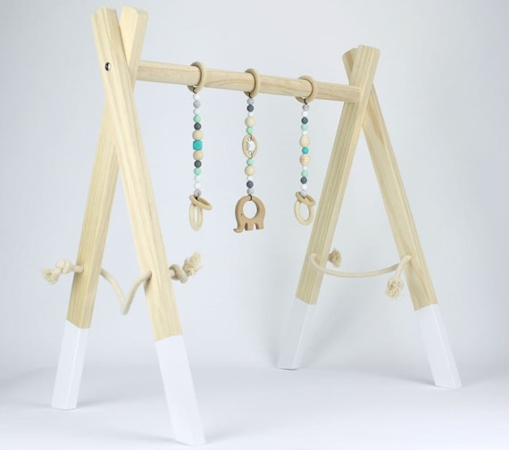 Bohemian Baby Activity Center Baby Shower Gift Modern Play Gym Bar Wooden Baby Gym Frame