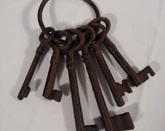 Vintage Cast Iron Skelton Keys