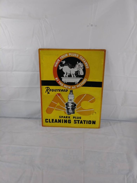 """/""""AC SPARK PLUG CLEANING STATION/"""" ADVERTISING METAL SIGN"""