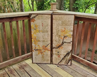 Vintage Authentic Signed Japanese Bonsai Tree Screen Panels