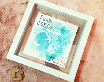 Watercolour baby scan print with floating frame.