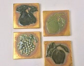 Vintage Elegant Coasters Gold and Green Coasters Holiday Coasters Set of Four Coasters Table Decoration Fruit Coasters