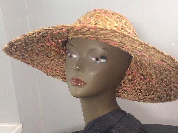 Vintage Straw Hat /Wide Brim Straw/ Woven Straw/ … - image 8
