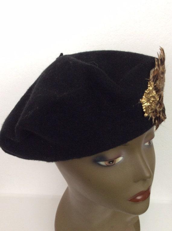 Vintage Black Wool Tam/ Embellished Wool Beret/Bl… - image 2