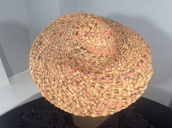 Vintage Straw Hat /Wide Brim Straw/ Woven Straw/ … - image 4