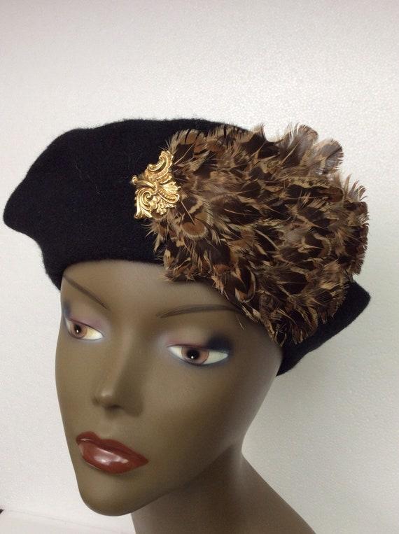 Vintage Black Wool Tam/ Embellished Wool Beret/Bl… - image 4