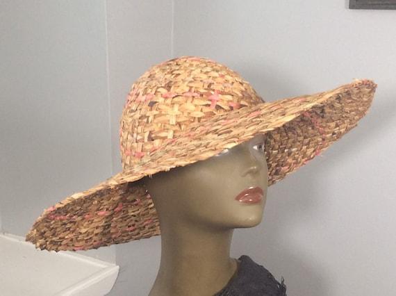 Vintage Straw Hat /Wide Brim Straw/ Woven Straw/ … - image 6