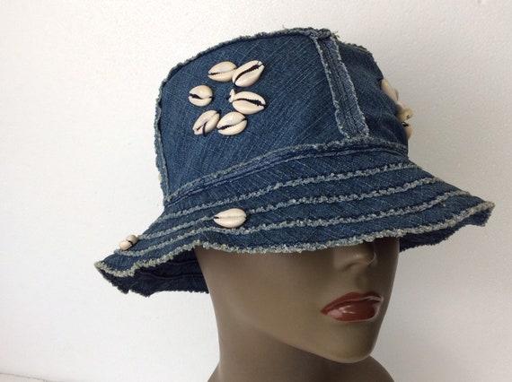 Vintage Denim Bucket Hat with Cowrie Shells/ Flopp