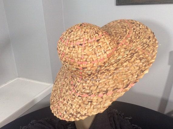 Vintage Straw Hat /Wide Brim Straw/ Woven Straw/ … - image 1