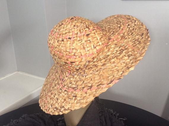 Vintage Straw Hat /Wide Brim Straw/ Woven Straw/ … - image 5
