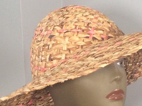 Vintage Straw Hat /Wide Brim Straw/ Woven Straw/ … - image 7