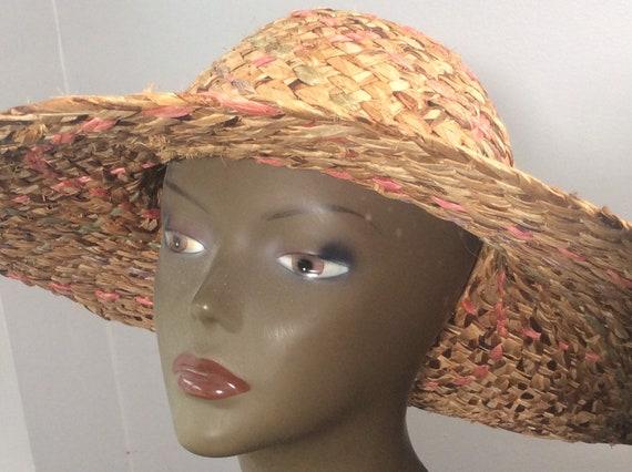 Vintage Straw Hat /Wide Brim Straw/ Woven Straw/ … - image 2
