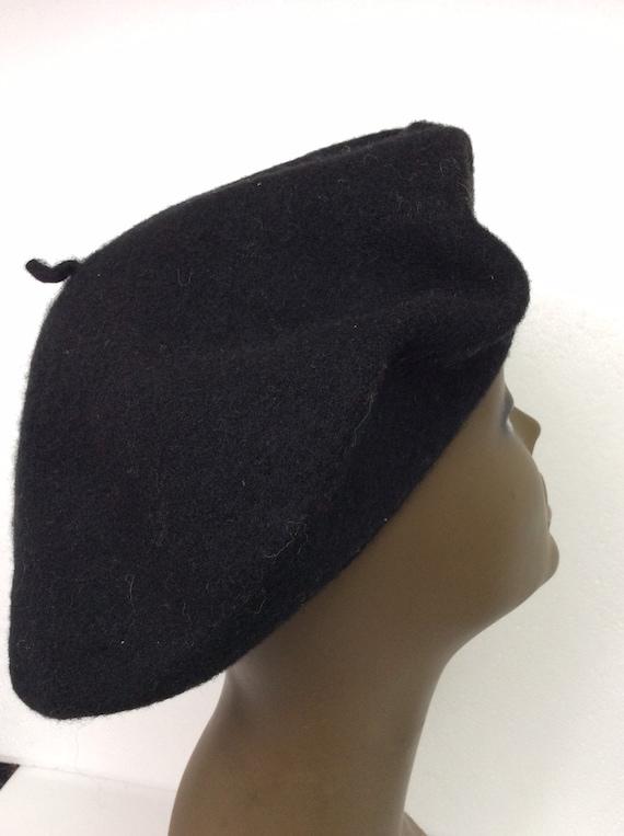 Vintage Black Wool Tam/ Embellished Wool Beret/Bl… - image 3