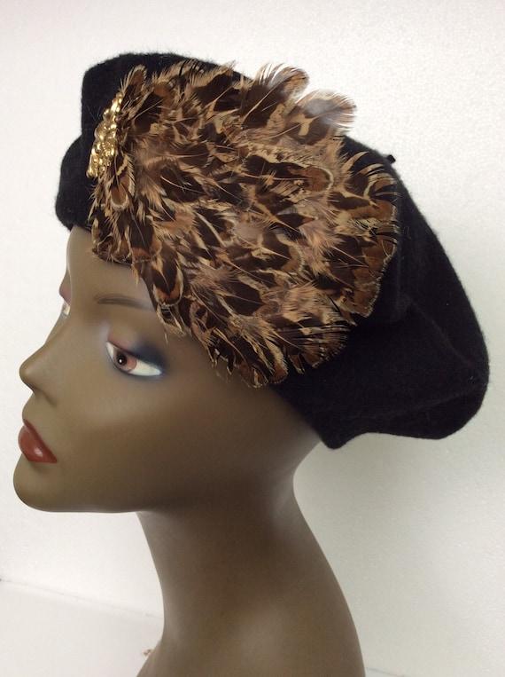 Vintage Black Wool Tam/ Embellished Wool Beret/Bl… - image 1