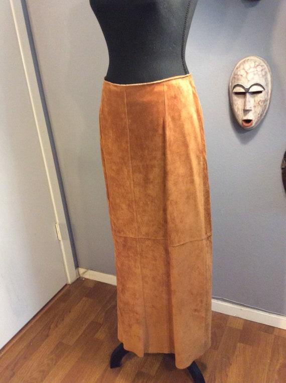 Suede Skirt/ Maxi Skirt/Camel Suede Skirt/ Vintage