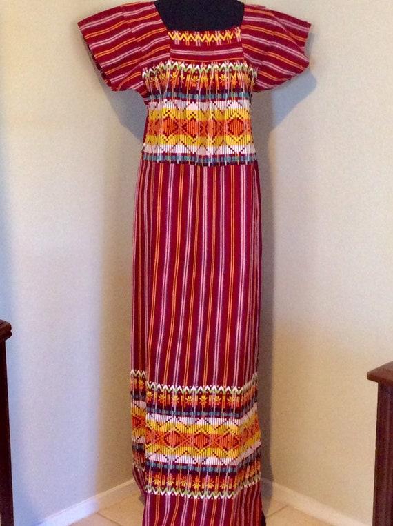 Guatemalan Embroidered Maxi/ Red Guatemalan Dress/