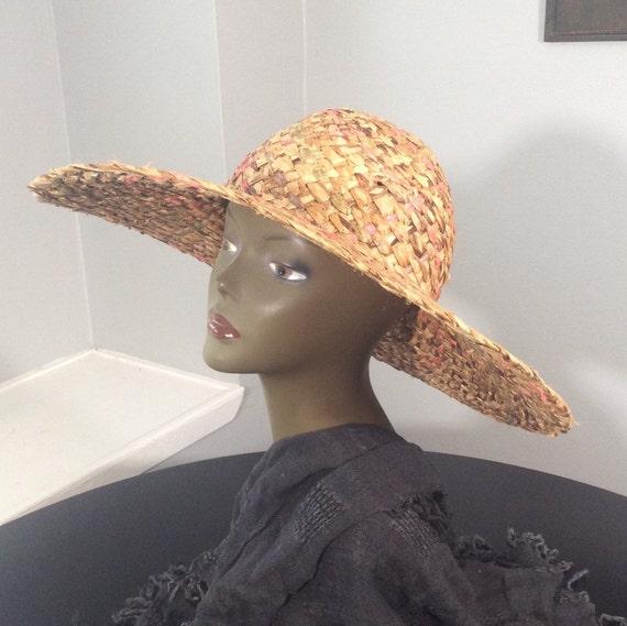 Vintage Straw Hat /Wide Brim Straw/ Woven Straw/ … - image 9