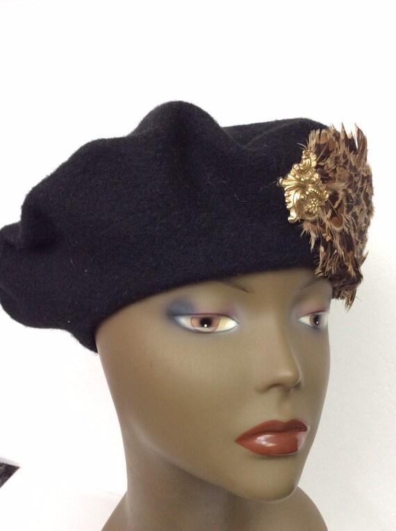 Vintage Black Wool Tam/ Embellished Wool Beret/Bl… - image 5
