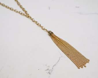 Gold Chain Tassel Necklace - Chain Necklace - Tassel Necklace - Gold Necklace